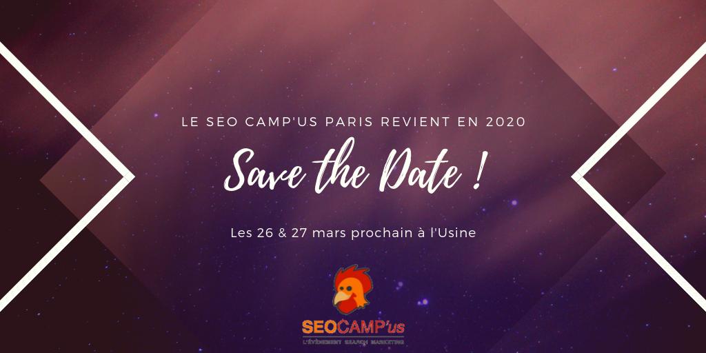 Save the date - SEO Camp'us Paris 2020