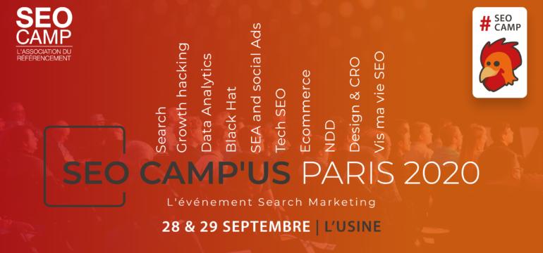 SEO Camp'us Paris, l'événement revient les 28 et 29 septembre 2020
